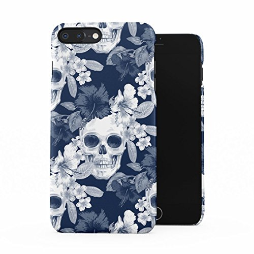 Tropical Floral Pirate Skulls Pattern Indie Hype Hipster Rad Tumblr Plastic Phone Snap On Back Case Cover Shell for iPhone 7 Plus & iPhone 8 Plus