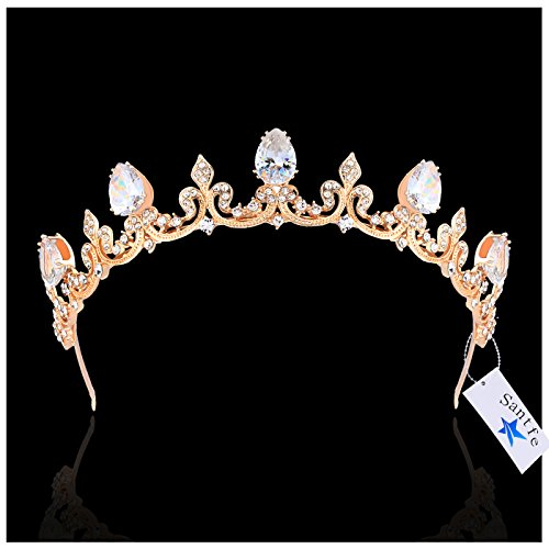 Santfe Bridal Wedding Prom Rhinestone Crystal Crown Hairband Headband Tiara Hair Jewelry for Womens Girls (Cube (Rhinestone Cube)