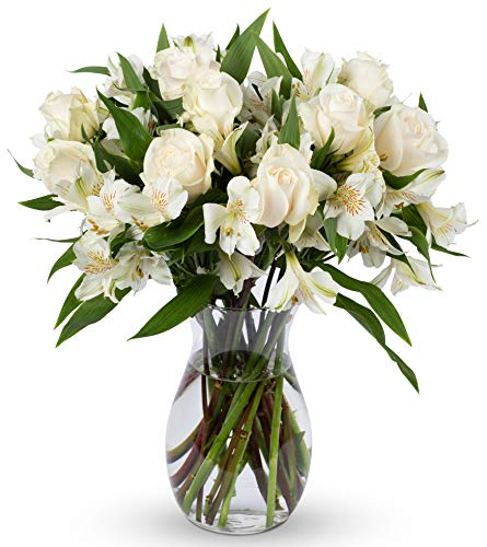 - Benchmark Bouquets Elegance Roses and Alstroemeria, With Vase (Fresh Cut Flowers)