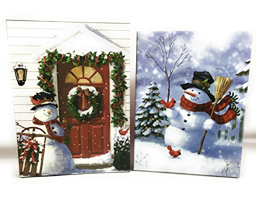 Holiday Snowman Gift Box Set of 2 Durable Decorative Boxes Each Box has a Different Beautifully Decorated Scene Great for Gift Giving or Displaying Glitter Accents Make a Beautiful Holiday Scene (Scene Accent)