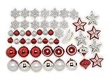 Festive - Juego de Adornos navideños (50 Piezas), Color Rojo y Plateado