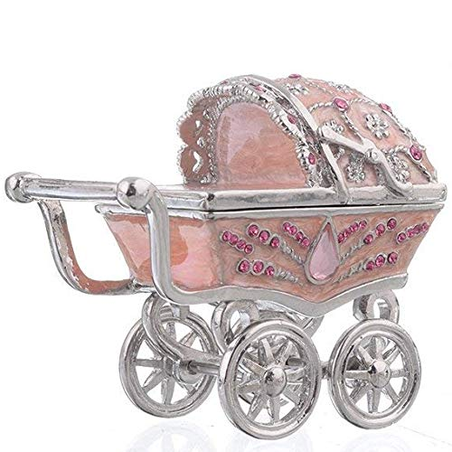 - Keren Kopal Pink Baby Carriage Trinket Box Decorated with Swarovski Crystals