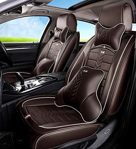 Tcbz Easy To Clean PU Leather Car Seat Cushions 5 Seats Full Set - Anti-Slip Suede Backing Universal Fit Car Seat Covers for Both Fabric And Leather Car Seats,Black,Brown: Amazon.co.uk: Sports & Outdoors