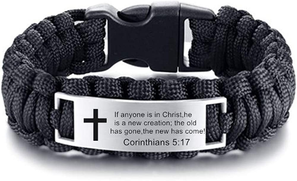 LiFashion LF Mens Stainless Steel Bible Verse Outdoor Black Rope Paracord Survival Bracelet,Christ Cross Bible Quote Scripture Cuff Bracelets for Adult Outdoor Hiking Camping Hunting Activities