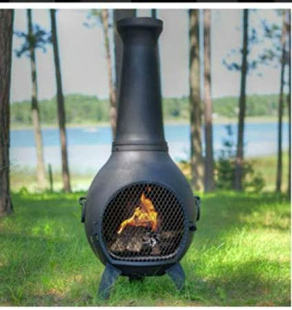 Propane Chiminea   Blue Rooster ALCH027GK LPG   Prairie Gas Chiminea  Outdoor Fireplace   Charcoal