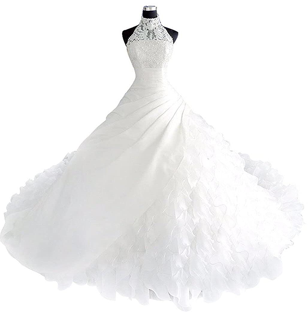 Borje High Collar Pears Long Train Wedding Dress Bridal Gown At