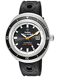 Zodiac Men's 'Super Seawolf 68 Extreme' Swiss Automatic Stainless Steel and Rubber Casual Watch, Color:Black (Model: ZO9501)