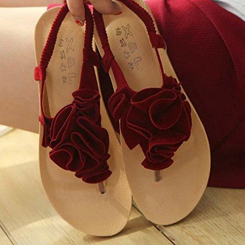 4d05cc4cb7833 Toe De Clip Compensées Plage D'été Dodumi Bohemia Rouge Talon Femmes Mules  Marron Sandales Noires Dames Sandals Sweet Femme A Chaussures Fleur ZxBUq1aZ