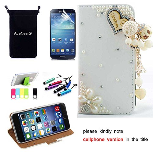 L7 II Dual CASE AceNear(TM) For LG Optimus L7 II Dual P715 Ultrathin Wallet Folio Stand Support Leather Case Series & Stand holder & Headset Dust Plug Capacitive Stylus & Screen Protector - loving heart white leather