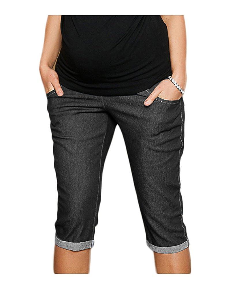 Capri Denim Maternidad pantalones vaqueros cosechados cortos 9046 Mija