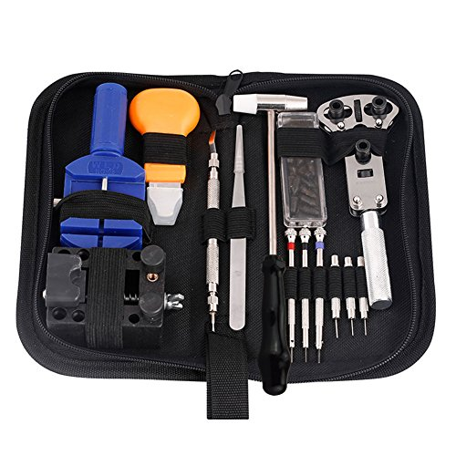 VC-Time Watch Repair Tool Kit - 14PCS Watch Repair Tool Kit Pin Set Watch Case Opener Link Spring Bar Remover Screwdriver Tweezers, Multi Tool Set for Battery Replacement, Resizing Watch Straps