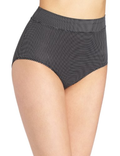 - Warner's Women's No Pinching No Problems Modern Brief Panty, Black/White Pindot, 6