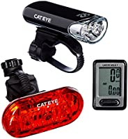 CAT EYE, Go Kit Wired with HL-EL135 Headlight, Velo 7 Cycle Computer, and Omni 3 Rear Bike Light