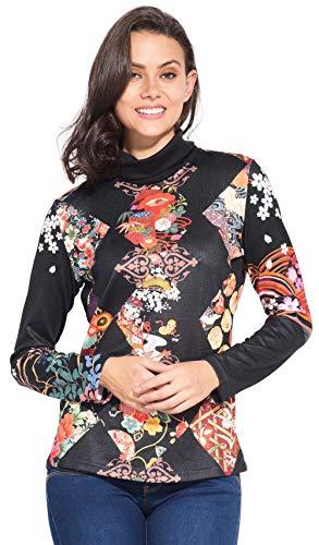 T 101 Idees Longues Femme shirt Imprimé Manches Noir 8qFUq