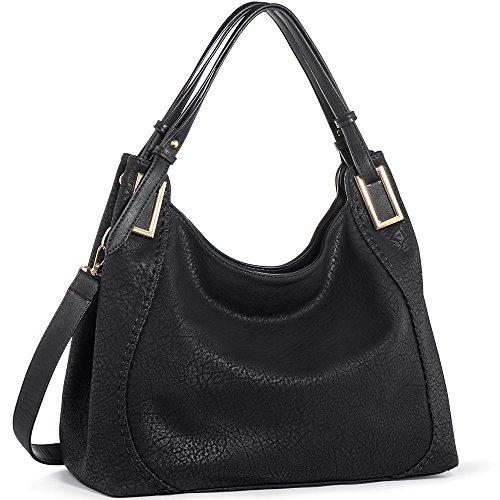 Women high quality shoulder shopping bags medium handbags (Black) - 7