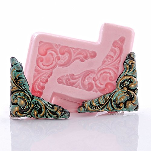 - Victorian Corner Scroll Work Silicone Mold Food Safe Fondant, Chocolate, Candy, Resin, Polymer Clay, Craft, Jewelry Food Mold.