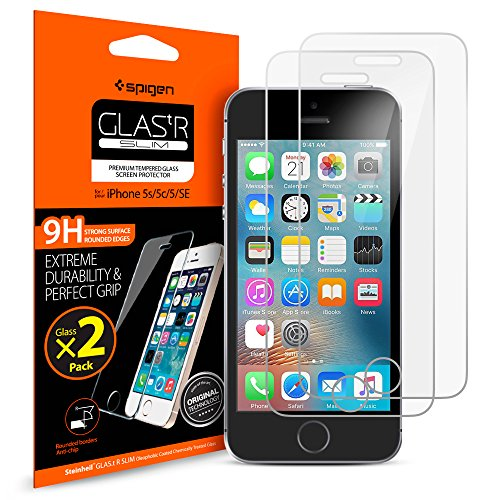 Spigen Glas tR Slim iPhone 5s Screen Protector with Tempered Glass 2 Pack for iPhone 5s/se/5c/5