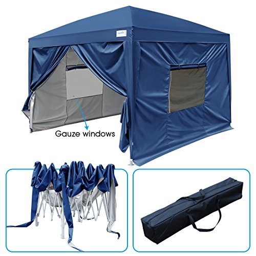 Blue Canopy Gazebo - Quictent 2018 Upgraded Privacy 8x8 EZ Pop Up Canopy Party Tent Folding Gazebo with Mesh Windows and Sidewalls 100% Waterproof (Navy Blue)