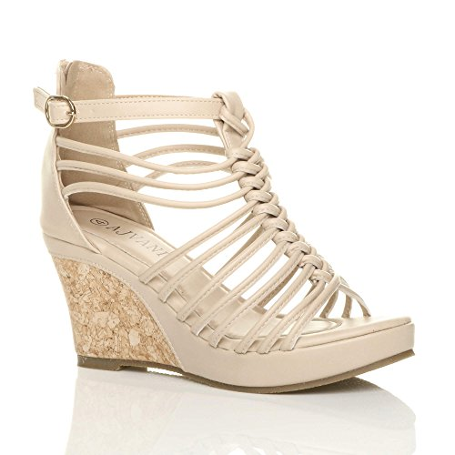 Heel Size Nude Strappy Ajvani Women High Sandals TSyZUfB