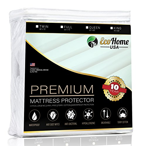 Protector Free Mattress Platinum (Eco Home USA Premium Mattress Pad Protector - Waterproof & Hypoallergenic Cover - Vinyl Free, Terry Cotton Topper (King))