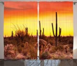 Ambesonne Saguaro Cactus Decor Curtains, Eve Sky in Barren Land with Cactus and Odd Weeds All Around the Dry Earth Photo, Living Room Bedroom Decor, 2 Panel Set, 108 W X 84 L Inches, Red Yellow For Sale