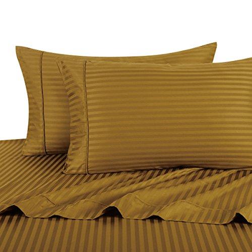 Sheetsnthings 100% Cotton Bed Sheet Set, 300 Thread Count - Queen, Bronze Stripes - Deep Pocket, 4PC (Bronze Bedding Set)