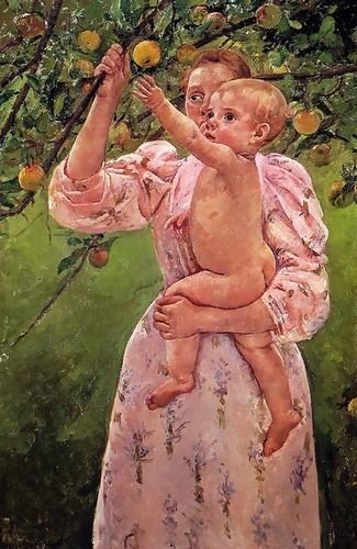 1st Art Gallery Baby Reaching For An Apple Aka Child Picking Fruit 72X111 by 1st Art Gallery