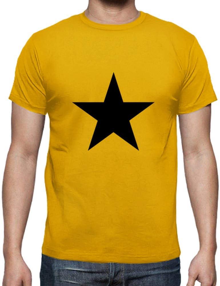 latostadora - Camiseta Estrella Negra para Hombre Amarillo Mostaza S: ardebof: Amazon.es: Ropa y accesorios