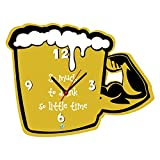 Valentines day gifts for him, Giftsmate Funny Beer Mug Frameless MDF Wood Wall Clock - 12 Inches Wall Clock for Living room, Gifts for Men
