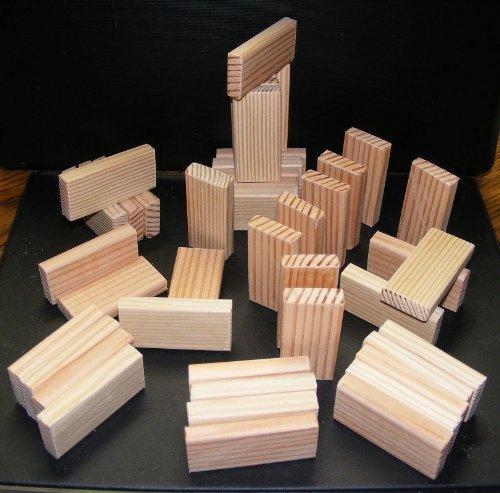 52ピースナチュラル木製おもちゃBuilding Blocks–Domino形状2.5X 1.25X 0.5