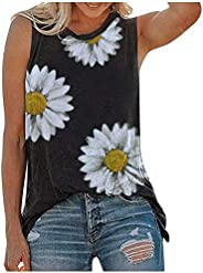 UBST Womens Tops Summer Chrysanthemum Printing Tanks Shirts Round Neck Casual Loose Tops Daily Wear Sleeveless