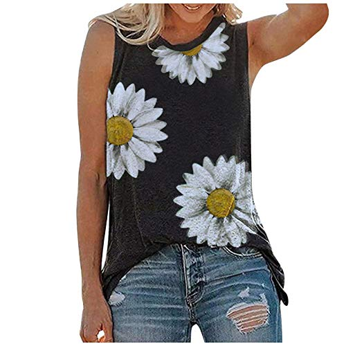 Koolee Women Sunflower Tank Tops Women's Graphic T Shirts Sleeveless Workout Blouse Summer Vest Casual Tunic Tee