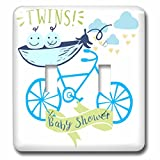 3dRose RinaPiro - Kids - Twins. Boys. Baby shower. Announcement. Cute picture. - Light Switch Covers - double toggle switch (lsp_261339_2)