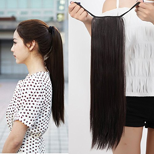 Synthetic Hairpiece Clip In Ponytail Hair Extension Wrap Around for Women (Straight - 22'', dark (Sexy Ponytails)