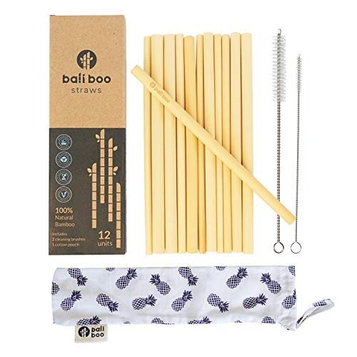 Reusable Bamboo Straw Set of 12 by Bali Boo - Zero Waste Cocktail Smoothie Drinking Straws - Two Stainless Steel Cleaning Brushes & Pouch Bag - Durable & Dishwasher Safe - Eco Friendly Gifts from Bali ()