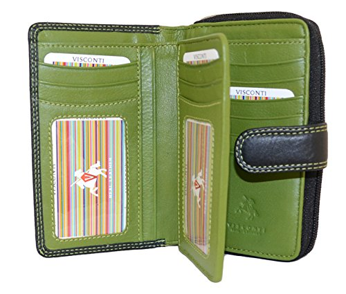 Visconti CD22 Ladies Leather Holder Wallet/Purse (Black/Green) (Visconti Wall Street Green)