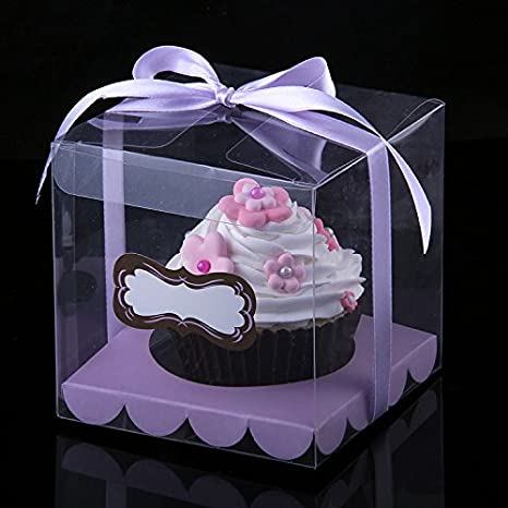 Candy pvc transparente plástico cajas para cupcakes Baking Wedding Party Cajas 12 piezas (9 x