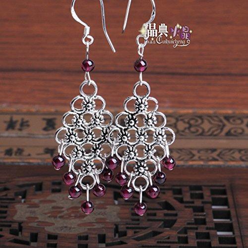 Tibetan silver earrings genuine new natural garnet earrings fashion national wind long section of female models earrings beauty