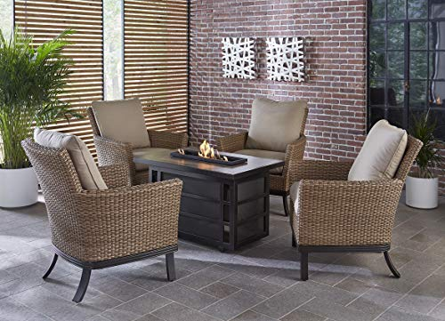 (Hanover Slater 5-Piece Rust-Free Aluminum Outdoor Patio Fire Pit Chat Set with 4 Woven Arm Chairs, Tan Cushions and a 30,000 BTU Rectangular Gas Fire Pit Coffee Table, SLAT5PCRECFP)