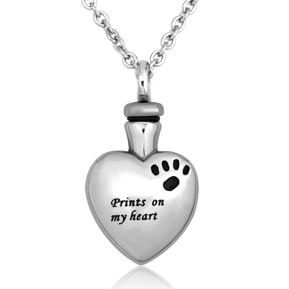 LuckyJewelry Pet Memorial Urn Necklace Dog Cat Paw on My Heart Cremation Ashes Necklaces