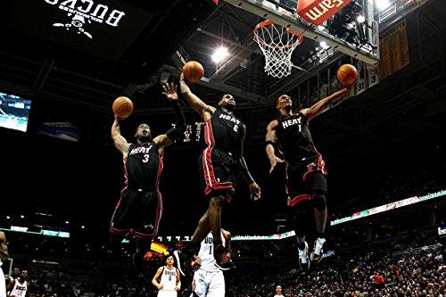 (Dwyane Wade Chris Bosh Lebron James Miami Heat Basketball Limited Print Photo Poster 24x36)