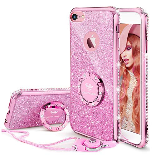 OCYCLONE iPhone 6s Case, iPhone 6 Case for Girl Women, Glitter Cute Girly Diamond Rhinestone Bumper with Ring Kickstand Protective Phone Case for iPhone 6s / iPhone 6 - Sakura Pink