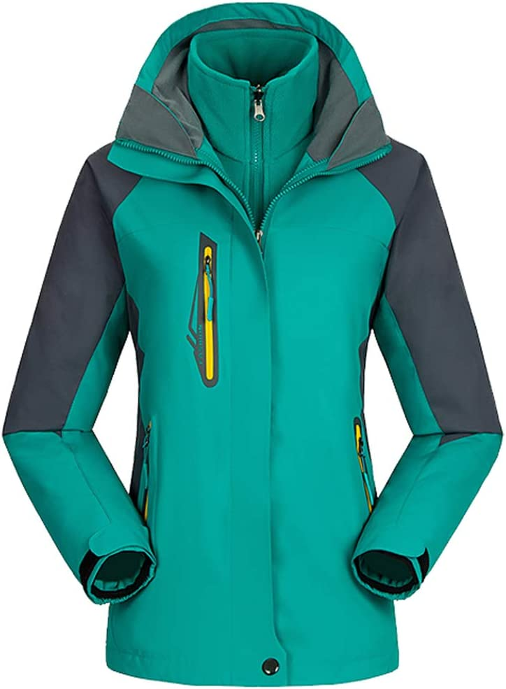 معطف مطر بغطاء للرأس من الصوف المقاوم للماء والرياح من AbelWay Women's Mountain Waterproof Windproof Fleece 3 في 1