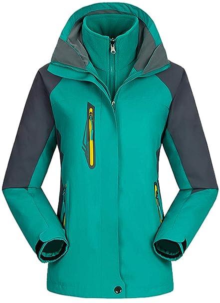 AbelWay Womens Mountain Waterproof Windproof Fleece 3 in 1 Jacket Ski Hooded Rain Coat