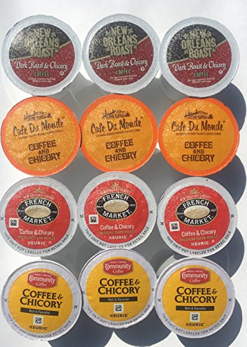 New Orleans Coffee & Chicory Sampler Single Serve Cups Variety Box, 12 Count
