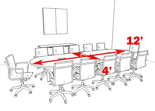 OF-CON-C10 Modern Racetrack 12 Feet Conference Table