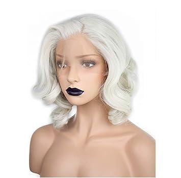 ZQZN Blanco Corto Platinum Blonde Pelo Resistente Al Calor Peluca Rubia del Frente del Cordón Sintético