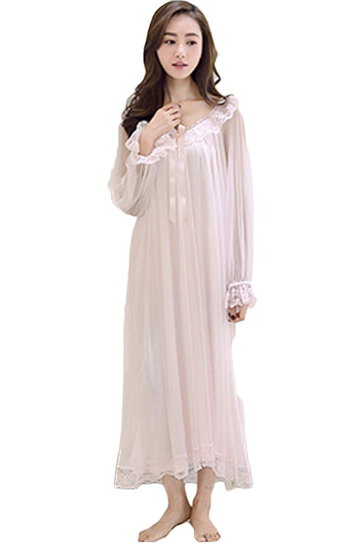 Cokar Nachthemd Lang Langzarm Wunderschönes Spitze Schiere Vierkant Nachtwäsche Vintage Schlafkleid