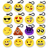 """MelonBoat 16 Pack Emoji Mini Plush Pillows, Keychain Decorations, Kids Party Supplies Favors, 2"""" Set of 16"""