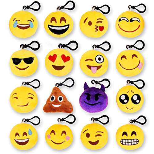MelonBoat 16 Pack 2 Emoji Plush Keychain Mini Pillows Backpack Clips Emoticon Poop Birthday Party Favors Supplies Goodie Bag Stuffers